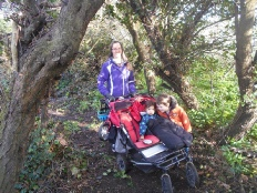 Jen Bailey and children inspecting the woodland walk, making sure it's pushchair friendly.jpg
